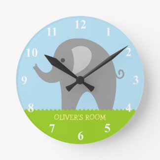 Cute gray elephant nursery wall clock for children. Kids Bedroom Wall Clocks   Zazzle