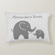 Cute gray elephants accent pillow for kids room