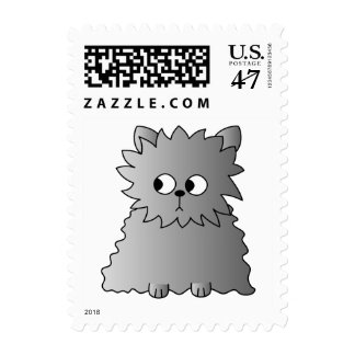 Cute Gray Fluffy Cat. Postage
