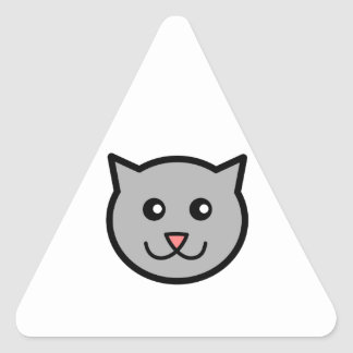 Cute Gray/Grey Cartoon Cat Face Triangle Sticker