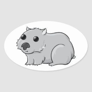 Cute Gray/Grey Cartoon Wombat Oval Sticker
