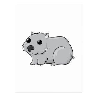 Cute Gray/Grey Cartoon Wombat Postcard