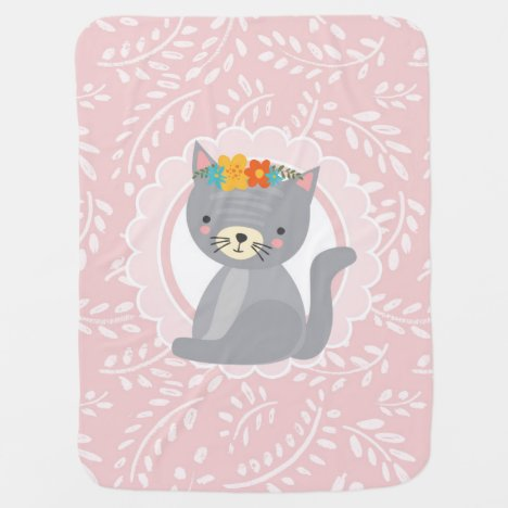 Cute Gray Kitten Pink White Cat Baby Blanket