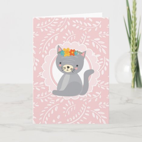 Cute Gray Kitten Pink White Cat Card
