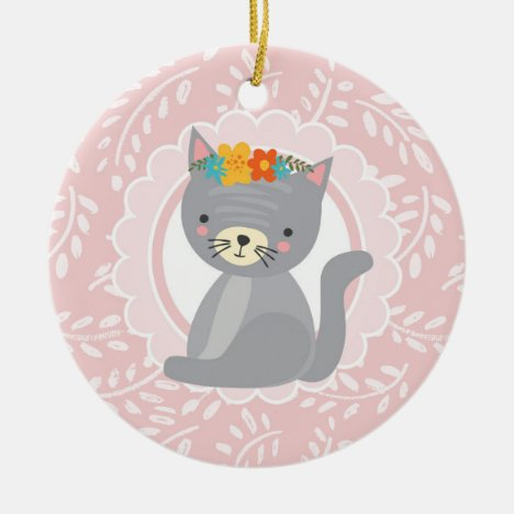 Cute Gray Kitten Pink White Cat Ceramic Ornament