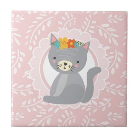 Cute Gray Kitten Pink White Cat Ceramic Tile