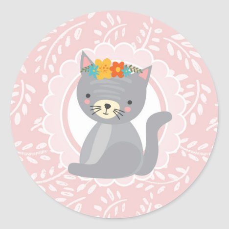 Cute Gray Kitten Pink White Cat Classic Round Sticker