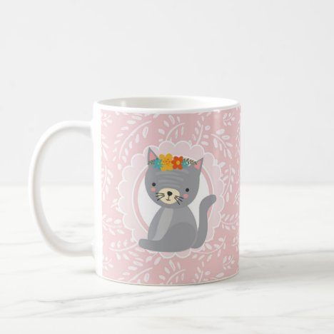 Cute Gray Kitten Pink White Cat Coffee Mug
