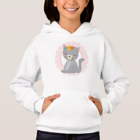 Cute Gray Kitten Pink White Cat Hoodie