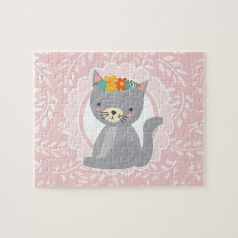 Cute Gray Kitten Pink White Cat Jigsaw Puzzle