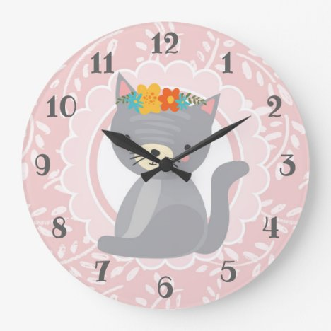 Cute Gray Kitten Pink White Cat Large Clock