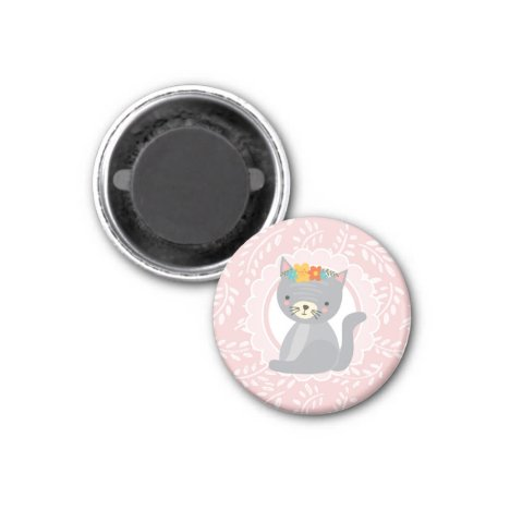Cute Gray Kitten Pink White Cat Magnet