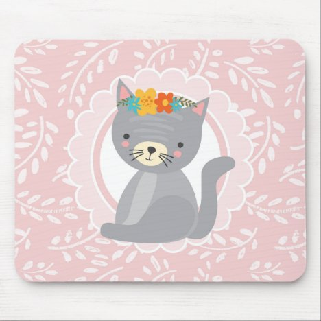 Cute Gray Kitten Pink White Cat Mouse Pad