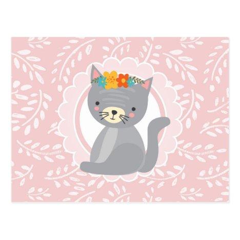 Cute Gray Kitten Pink White Cat Postcard