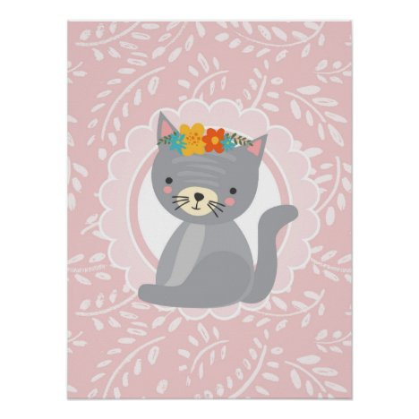 Cute Gray Kitten Pink White Cat Poster