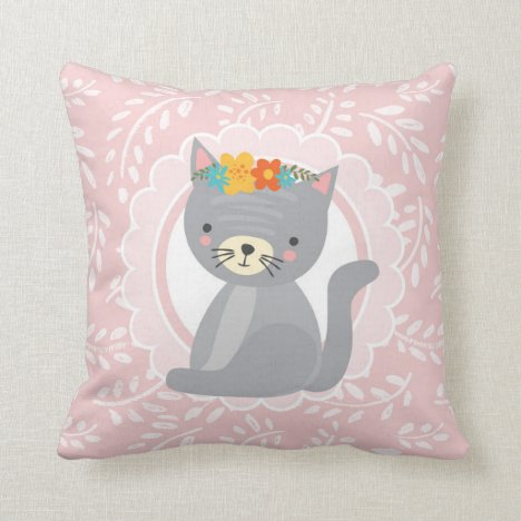 Cute Gray Kitten Pink White Cat Throw Pillow