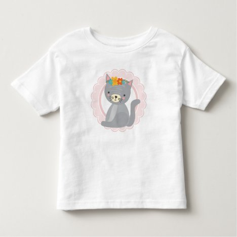 Cute Gray Kitten Pink White Cat Toddler T-shirt