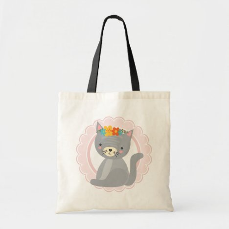 Cute Gray Kitten Pink White Cat Tote Bag