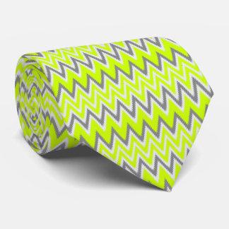 Cute gray light green zigzag stripes tie