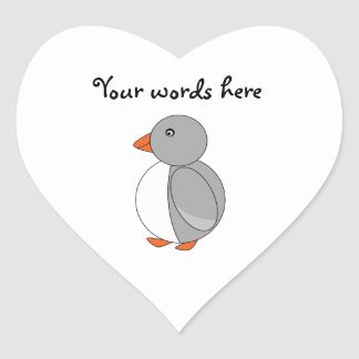 Cute gray penguin heart sticker