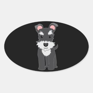 Cute gray schnauzer puppy oval sticker