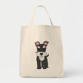 Cute gray schnauzer puppy tote bag