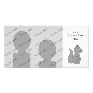 Cute Gray Squirrel Custom Photo Card