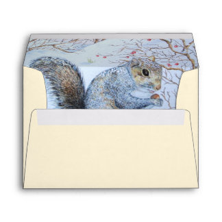 Cute gray squirrel seasonal snow scene wildlife envelope