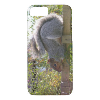 cute gray squirrel sleeping on garden fence iPhone 7 case