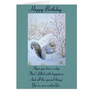 cute gray squirrel snow scene wildlife art card