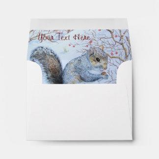 cute gray squirrel snow scene wildlife art envelope