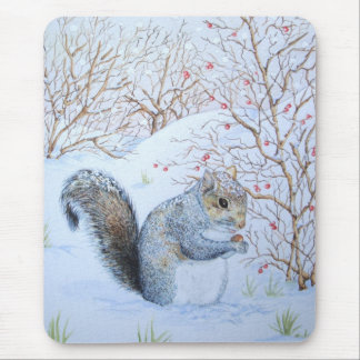 cute gray squirrel snow scene wildlife art mouse pad