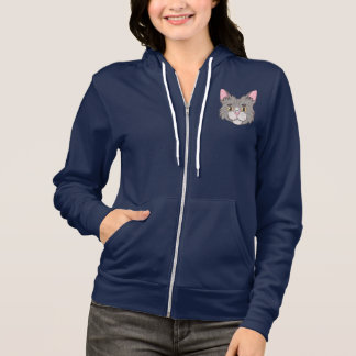 Cute Gray Striped Tabby Cat Face Hoodie