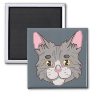 Cute Gray Striped Tabby Cat Face Magnet