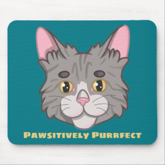 Cute Gray Striped Tabby Cat Face Mouse Pad