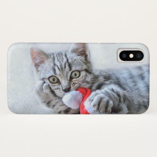 Cute Gray Tabby Cat w Christmas Hat Xmas iPhone X Case