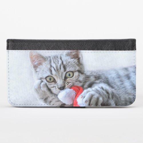 Cute Gray Tabby Cat w Christmas Hat Xmas iPhone X Wallet Case
