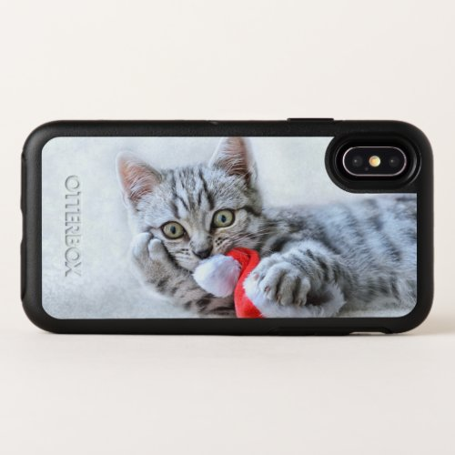 Cute Gray Tabby Cat w Christmas Hat Xmas OtterBox Symmetry iPhone X Case