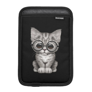 Cute Gray Tabby Kitten with Eye Glasses, black iPad Mini Sleeve