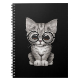 Cute Gray Tabby Kitten with Eye Glasses, black Spiral Note Book