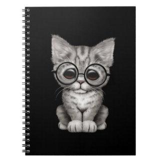 Cute Gray Tabby Kitten with Eye Glasses, black Spiral Notebook