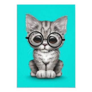 Cute Gray Tabby Kitten with Eye Glasses blue Custom Invitations