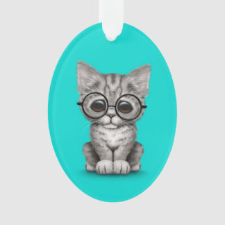 Cute Gray Tabby Kitten with Eye Glasses blue Ornament