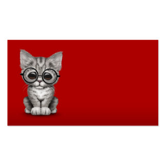 Cute Gray Tabby Kitten with Eye Glasses red Business Cards