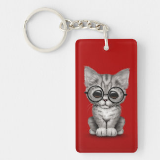 Cute Gray Tabby Kitten with Eye Glasses, red Keychain
