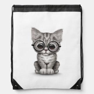 Cute Gray Tabby Kitten with Eye Glasses, white Drawstring Backpack