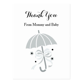 Cute Gray Umbrella and Bow Baby Shower Thank You Postcard