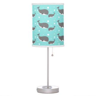 Cute Gray Whale Aqua Pattern Table Lamp