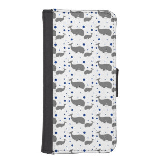 Cute Gray Whales Blue Dots Phone Wallet