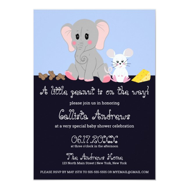 Cute Gray White Elephant Mouse Peanut Baby Shower Invitation